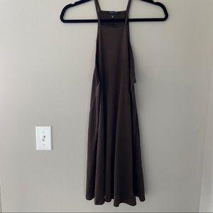 TRES BIEN USA Brown Suede Short Dress